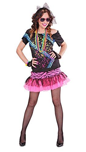Widmann 98893 - Erwachsenenkostüm, 80er Jahre Rock Girl, T-Shirt, fingerlose Netzhandschuhe und Stirnband aus Spitze,verschiedene Größen, angenehmer Tragekomfort, Rocker, Bad Taste, Karneval