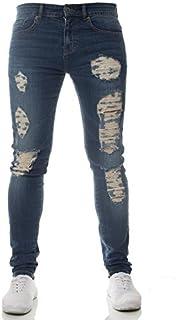 New Mens ENZO Super Stretch Skinny Jeans Ripped Distressed Designer Midstone Wash 28 W X 30 S