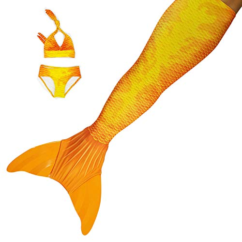Sun Tails Premium Orange Mermaid Fin Sunset Style for Swimming Tail Fin Swimwear Kids Monofin Mermaid M with Monofin Orange Costume and Bikini