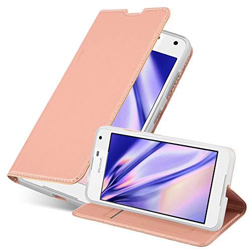 Cadorabo Hülle für Nokia Lumia 650 in Classy ROSÉ Gold - Handyhülle mit Magnetverschluss, Standfunktion & Kartenfach - Hülle Cover Schutzhülle Etui Tasche Book Klapp Style
