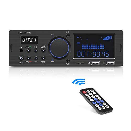 ieGeek Autoradio Bluetooth Main Libre, FM/ AM/ RDS Poste Radio Voiture Bluetooth (30 Stations de Mémoire), Double Affichage LCD avec Horloge, Supporte USB/ AUX in / MP3 / FLAC/ SD