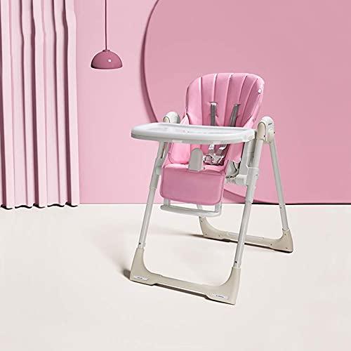 Trona para bebé – Silla de alimentación convertible con bandeja doble extraíble y arnés de seguridad de 5 puntos/respaldo reclinable y plegable, C