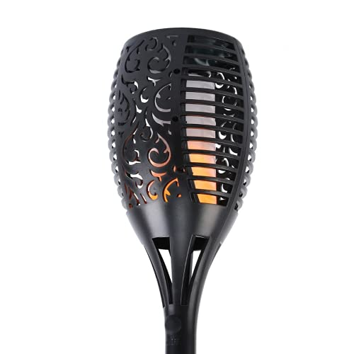 QQSM Linterna solar de 12 ledes, luz de llama para exterior, luz de inducción, jardín, enchufe de suelo, luz decorativa, luz de camino de jardín, color negro, 96 LED linterna (redonda)