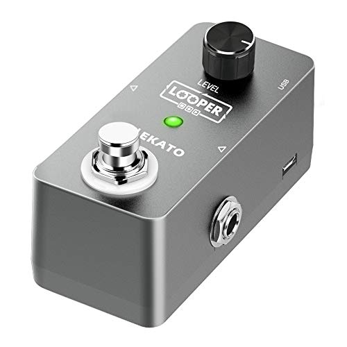LEKATO Gitarren-Effektpedal, elektrisches Loop-Pedal, unbegrenzte Overdubs, 5 Minuten, Looping-Zeit, True Bypass, mit USB-Kabel