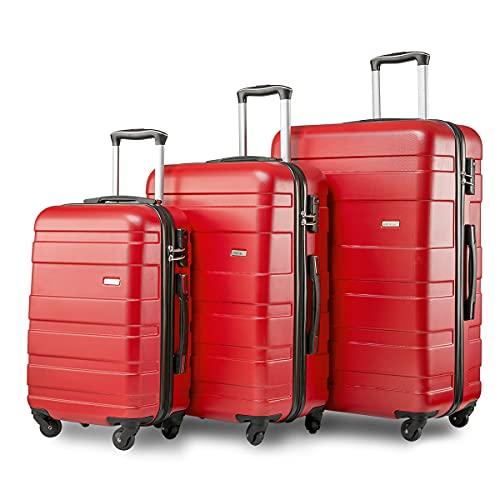 TITA-DONG Juego de 3 maletas de viaje de 4 ruedas de peso ligero con carcasa rígida para maleta de equipaje de 20/24/28 pulgadas (rojo)