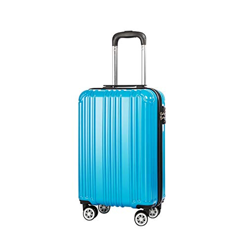 COOLIFE Lightweight 55cm Hard Shell 4 Wheel Travel Carry On Hand Cabin Luggage Suitcase with TSA Lock Approved for easyJet British Airways Ryanair (Turquoise Blue, S(55cm 38L)_Carry-on)