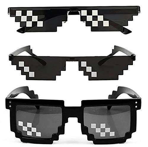 Zuzer 10 Pack Party Sonnenbrille Mosaik Brille Mlg Brille Interessant Thug Life Brille Pixelbrille für Partys und Verkleidungen