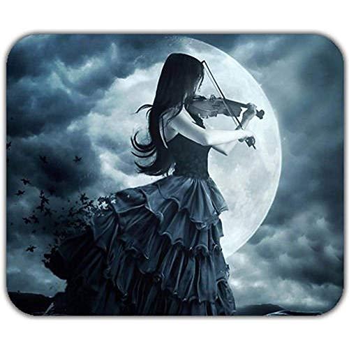 gothic eenzaam zwart haar meisje spelen viool schaduw maan licht muismat pad