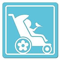 imoninn ベビーカー バギーサイン 子供用障害者マーク 障害児マーク 【マグネットタイプ】 車いすサイン・福祉車両用 (水色)