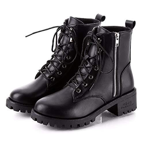 WUSIKY Bootsschuhe Damen Stiefeletten Boots Damen Stiefel Vintage Leder Knöchel Short Cowboy Motorradstiefel Schuhe (Schwarz, 39 EU)