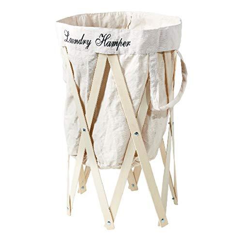 洗濯かご 折りたたみ 洗濯カゴ コンパクト 大容量 大型 おしゃれ ランドリーバスケット スリム Laundry Hamper ランドリーハンパー(アイボリー×ナチュラル)