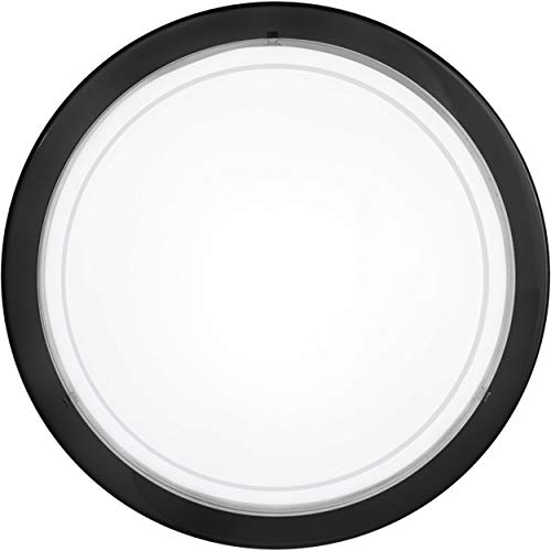 EGLO Lampe de plafond Planet 1, 1 applique murale à flamme, plafonnier en acier, couleur : noir, verre : blanc laqué, douille : E27