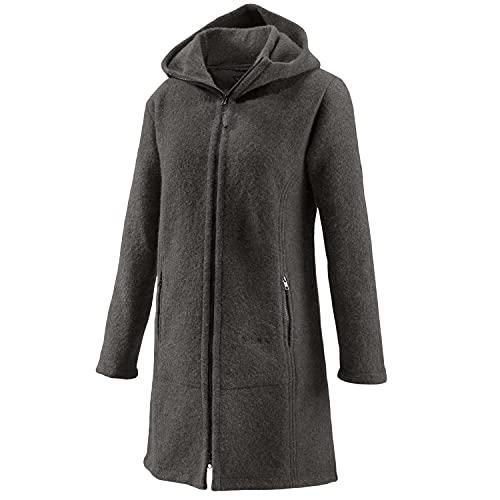 Mufflon Damen-Woll-Kurzmantel Mu-Jana mit Kapuze Granit grau - XXL