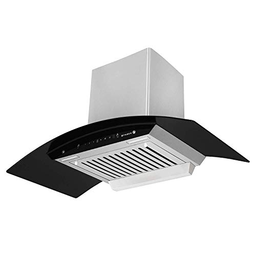 Faber 90 cm 1100 m³/hr Auto-Clean Curved Glass Kitchen Chimney (Hood Zest HC SC SS 90, Baffle Filter, Touch Control, Stainless Steel)