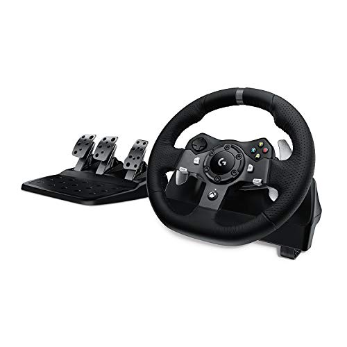 Logitech G920 Driving Force Racing Wheel Volante da Corsa con Pedali Regolabili, Ritorno di Forza Reale, ‎Comandi Cambio in Acciaio Inossidabile, Volante in Pelle, Spina EU, Xbox One/PC/Mac, Nero