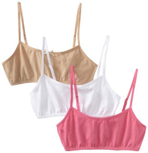 Maidenform Big Girls' Crop Bra (Pack of 3), White/Nude/Pink, Large