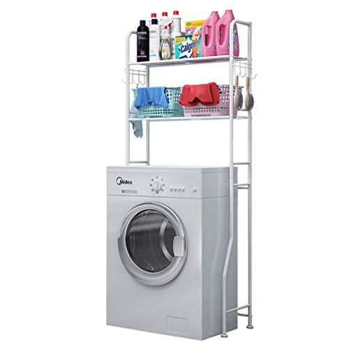 WLD Wasmachine Rek met 2 Planken Badkamer Rek Opslag Boven Wasmachine Droger Ruimte Saver met Verstelbare Schroef Pad fjhfgjhfgdfgdf