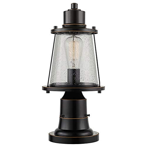 Globe Electric 44363 Charlie 1 Outdoor Lamp Post Light Fixture with Base Adaptor, Oil Rubbed Bronze, Seeded Glass Shade