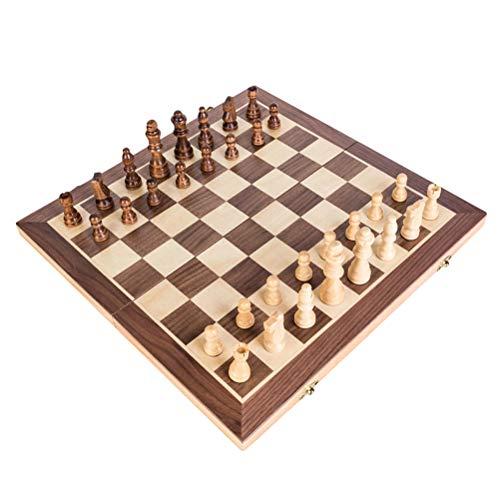 TOYANDONA Juego de Tablero de ajedrez Plegable de Madera Conjunto de celosía de Madera Piezas de ajedrez Juego de Mesa de Madera