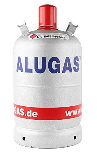 Alugas Gasflasche Füllmenge 11 kg, leer, Gewicht 5,2 kg, Komplett mit Ventil, Schraub- und Schutzkappe. Amtlich geprüft. Nicht rostend