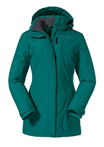 Schöffel Insulated Jacket Portillo, wind- und wasserdichte Winterjacke für Frauen, warme und atmungsaktive Outdoor Jacke Damen, teal blue, 38