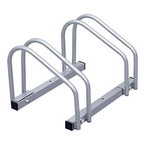 wolketon Fahrradständer Für 2 Fahrräder Boden- und Wandmontage Stahl verzinkt, 41 x 32 x 26 cm