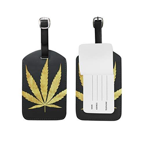 Etiqueta de equipaje con estampado de hojas de marihuana, de piel sintética, para maleta, equipaje de viaje, 1 unidad