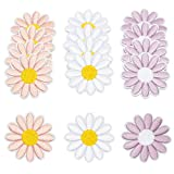 Fabric Iron On Patches, Daisy Flowers in 3 Colors (1.8 x 1.8 in, 12 Pack)