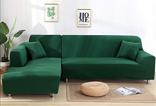 Hava Kolari Sofabezug, L-Form Sofaüberwürfe, 1/2/3/4 Sitzer, Stretch Sofa, Schonbezüge(Wenn Ihr Sofa EIN L-förmiges Ecksofa ist, müssen Sie Zwei kaufen) (Grün,3 Sitzer: 190-230cm)