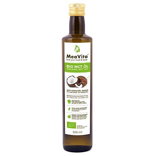 Olio di cocco biologico MeaVita a base di olio MCT (1x 500 ml) Acidi grassi C8 e C10, 60% acido caprilico e 40% acido caprico
