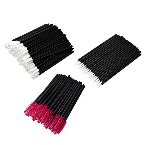 perfeclan Lots 150pcs Jetables Mascara Brush Lip Lashes Eyeliner Wands Applicators - Rouge