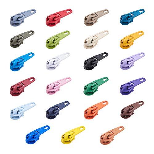 PandaHall 230pcs Colorido Kit de Reparación de Cremallera Deslizador Uso en Costura o Joyería Elección Cremalleras para Bolsas, Pantalones, Chaquetas y Maletas Fácil de Instalar