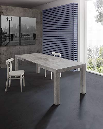 Tavolo allungabile moderno, mod.MORFEO finitura cemento cm.120x80 H75 con 2 allunghe cm.40 allungabile a cm.200 in nobilitato melaminico di alta qualità
