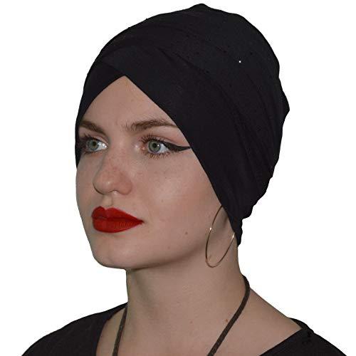 Turban Kopftuch Hijab Bone Khimar Chemomütze Kopfdeckung Strass Chomo Stirnband Schwarz