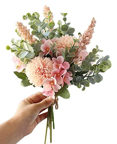 Kugusa 造花 シルクフラワー 花束 フェイク パステル ブーケ 花瓶 付き インテリア 装飾 (ユーカリ花束(ピンク))