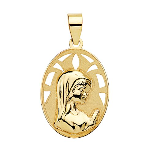 Iyé Biyé Medalla niña comunión Virgen niña 17 mm Oro Amarillo 18 ktes matizada. Grabado Incluido
