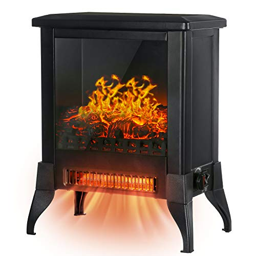 KINGSO 18' Electric Fireplace Stove, Freestanding Fireplace Heater with 3D Realistic Flame, Indoor Electric Stove Heater,CSA Certified Overheating Safety Protection , Portable, 1400W