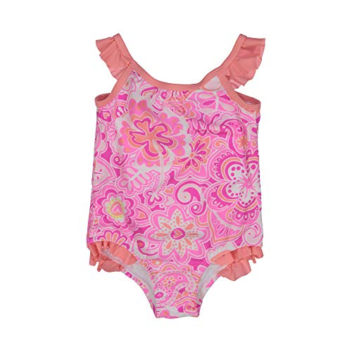 Tommy Bahama Toddler Girls' One-Piece Swimsuit Bathing Suit, Fuchsia Abstract Coral, 2T