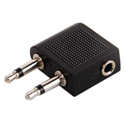 ILS - adapter voor hoofdtelefoonaansluiting voor vliegtuig 3,5 mm (zilver)