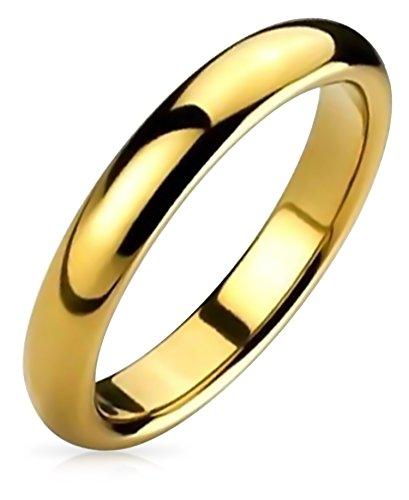 Bling Jewelry Cupola Sottile Coppie Fede Nuziale Lucidati 14K Placcato Oro Anello di Tungsteno Peri Uomini per Donne Comfort 4 mm