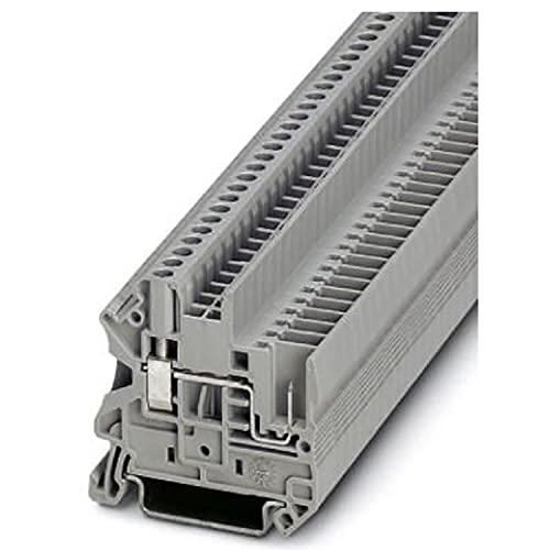 PHOENIX CONTACT UT 2,5/1P Durchführungsklemmenblock mit Schraub-/Steckverbindung, 2 Anzahl Anschlüsse, AWG 26-12, 2.5mm² Nennquerschnitt, Grau, 50 Stück