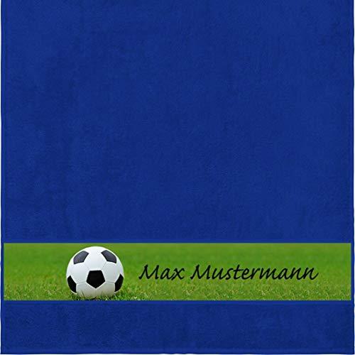 Manutextur Duschtuch mit Namen - personalisiert - Motiv Sport - Fußball - viele Farben & Motive - Dusch-Handtuch - Royalblau - Größe 70x140 cm - persönliches Geschenk mit Wunsch-Motiv und Wunsch-Name