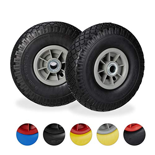 Relaxdays, zwart-grijs, 2 x steekwagenwiel, lekvrije rubberen banden, 3,00-4 inch, 20 mm as, tot 80 kg, 260 x 85 mm