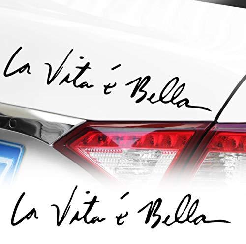 WOO GIRL 1 pezzo La Vita é Bella vinile adesivo – La vita è bella per auto tuning e accenti per moto o auto, lunghezza 22 cm x 4,5 cm – nero