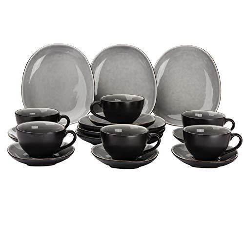 Van Well Elements 18-TLG. Kaffeeservice | Kaffeetasse + Untertasse + Kuchenteller | edle Geschirr-Kollektion | Steingut glasiert | 4 Farben, Farbe:grau-schwarz