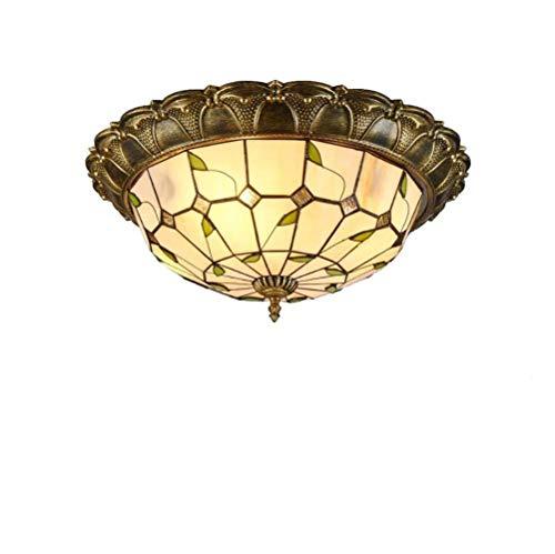 Tiffany Deckenlampe Vintage Flur Deckenleuchte Retro Loft Bar Wohnzimmer Schlafzimmer Esszimmer Studie Deckenbeleuchtung Kreativ Glas Metall Dekorativer Innenbeleuchtung D42cm * H13cm Warmes Licht