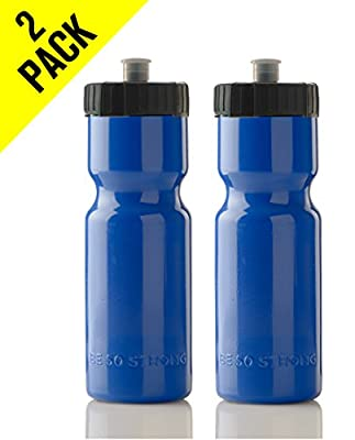 50 Strong Sports Squeeze Water Bottle 2 Pack – 22 oz. BPA Free Easy Open Push/Pull Cap – USA Made (Blue/Black)
