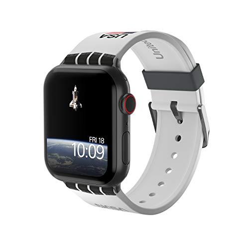 NASA – Space Shuttle Edition – Bracelet de montre connectée en silicone sous licence officielle compatible avec Apple Watch, compatible avec 38 mm, 40 mm, 42 mm et 44 mm