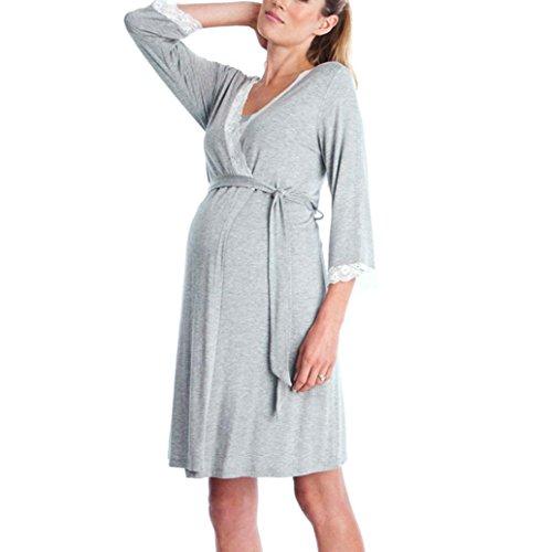 Gusspower Vestido de Lactancia Maternidad de Noche Camisón Mujeres Embarazadas Ropa de Dormir Premamá Pijama Verano Encaje (Gris, M)