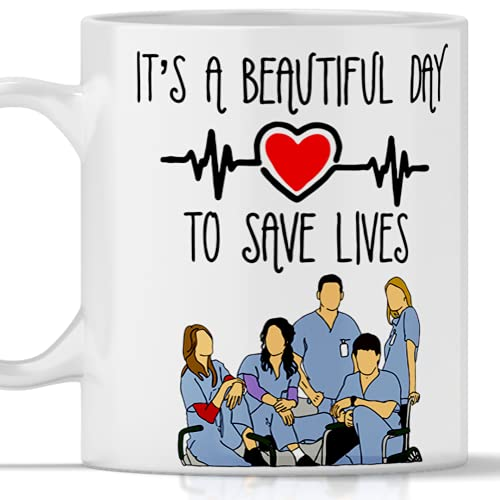Taza Gadget Grey's Anatomy It's a beautiful day to save lives. Mug tributo para regalo serie TV
